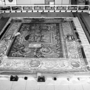 Figure 4. The tapestry after washing laid on drying platform.