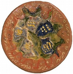Maiolica plate featuring the centre section from Raphael's 'The Healing of the Lame Man'
