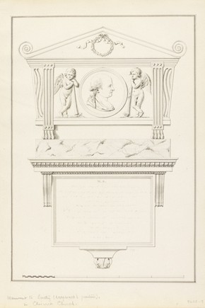 Drawing of a monument to Thomas Bentley, James Stuart, about 1780. Museum no. 8408.9a