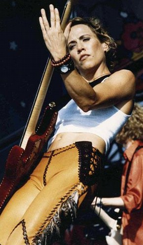 Lost Art, leather trousers worn by Sheryl Crow in concert, Woodstock 1999, photograph by Tara Canova