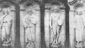 Figures of painters on the eastern portion of the Cromwell Road façade