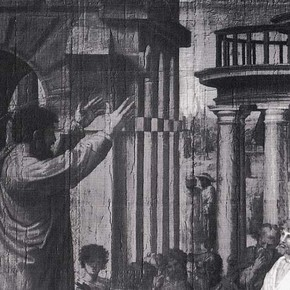 Figure 2: Detail of a raking light photograph of the Cartoon 'Paul Preaching'