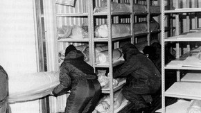 Fig.3. The freezer unit, fitted out with shelving to take rolled carpets and taperstries as part of a freezing programme which involved treating over 600 objects.