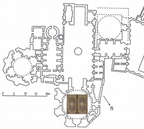 Plan of the shrine at Ardabil, showing where the carpets were situated