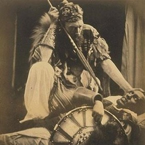 Julia Margaret Cameron, 'Spear or spare', Báshá Félíka, photograph of Captain Speedy, 1868. Museum no. 19-1939