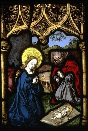 Mary and St Joseph Adoring the Christ Child, by Veit Hirschvogel the Elder (1461-1525), about 1500-10. Museum no. 603-1872