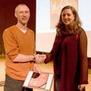 Simon Davies receiving the award for 'Glass' from Kate Jones, from the creative partnership Gillies Jones, Inspired By 2008
