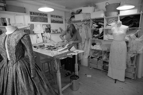 Costume maker Susannah Wilson in her studio, Photograph by Graham Brandon. Museum no. TM10261-2-22