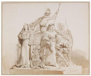 John Bell, Drawing for Sculpture of 'America', 1864. Museum no. E.547-2008