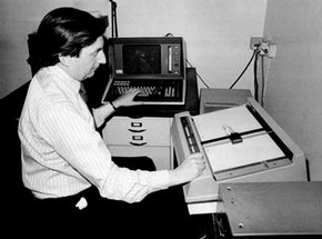 John Lansdown using a Teletype (an electro-mechanical typewriter), about 1969-1970. Courtesy the estate of John Lansdown