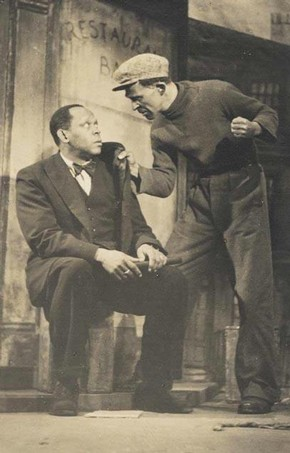 Robert Adams (seated) in 'All God's Chillun Got Wings', Unity Theatre, 1940s