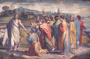 Raphael, Christ's Charge to Peter, 1515-16 Bodycolour on paper mounted onto canvas (tapestry cartoon), 340 x 530 cm Lent by H.M. The Queen