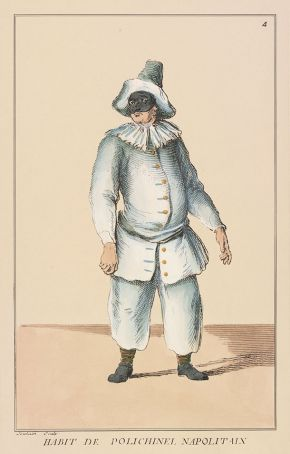 Habit de Polichinel Napolitan, Hand-coloured engraving by Francois Joullain, illustration from Riccoboni's Histoire du Theatre Italien by Luigi Riccoboni, published by Cailleau, Paris, 1731. Museum no. S.1215-2010. © Victoria and Albert Museum, London
