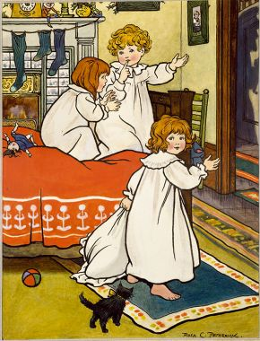 Three children on Christmas Eve, illustration, Rosa C. Petherick, about 1900. Museum no. RENIER.333. © Victoria and Albert Museum, London.