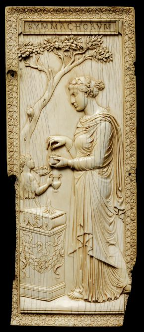 The Symmachi Panel, unknown maker, Rome, Italy, about 400 AD, carved elephant ivory. Museum no.212-1865, © Victoria and Albert Museum, London