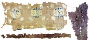 Three silk fragments, Karakhoto, 1000-1250 AD, plain and gauze weave in silk, resist dye and print, length 20.9cm x width 9.2cm (largest fragment). Museum no. LOAN:STEIN.551 (K.K.II.0244.xxix), © Victoria and Albert Museum, London. On loan from Government of India and the Archaeological Survey of India