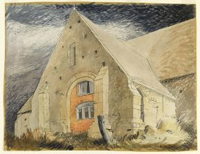 John Piper, 'Tithe Barn, Great Coxwell, Berkshire', watercolour on paper, about 1940. Museum no. E.1121-1949, © Victoria and Albert Museum, London