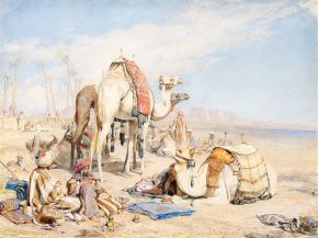John Frederick Lewis (1805-1876), A halt in the desert, 1855, watercolour on paper. Museum no. FA 532, © Victoria and Albert Museum, London