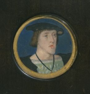 Portrait miniature of Charles V, Lucas Horenbout, about 1525-30, watercolour on vellum, remounted onto modern card. Museum no. P.22-1942, © Victoria and Albert Museum, London