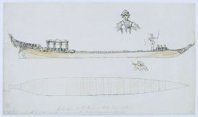 Plan and side elevation of the Royal Barge, William Kent, 1732, pen and ink, wash. © RIBA, British Architectural Library