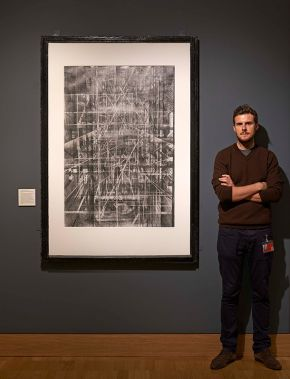 Liam with his final drawing at the British Museum, © Liam O'Connor