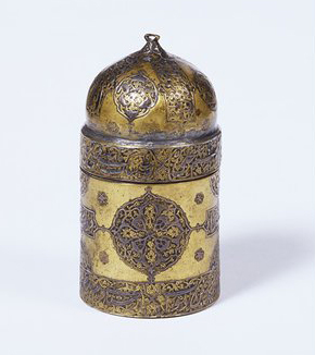 Ink pot made by Mirak Husayn of Yazd, ca. 1510-1520, Museum no. 2-1883. © Victoria and Albert Museum, London.