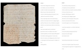 Manuscript written by Jacob Arend, as found inside the writing cabinet (recto)