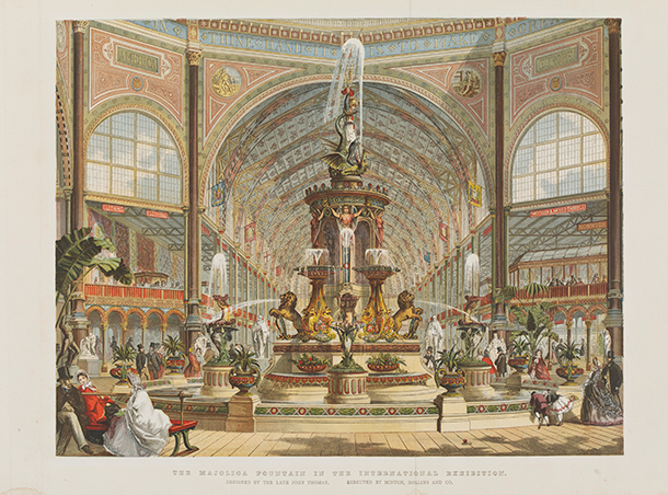Chromolithograph of the Majolica Fountain in the International Exhibition, from the Illustrated London  News, August 30, 1862, by Robert Dudley, object number B.119-2011. © Victoria and Albert Museum London