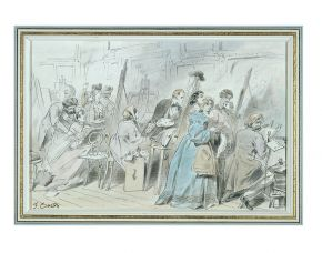 Caricature in pen and watercolour showing art students copying pictures in the original paintings galleries of the South Kensington Museum