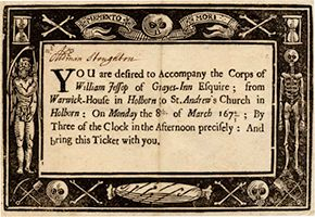 17th century funeral card from the Hulton family and estate archive