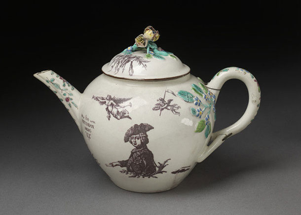 Teapot and cover, Bow Porcelain Factory, 1757 - 1760
