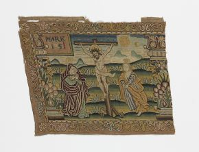 Scene from the Passion of Christ, part of an embroidered valance, unknown maker, France/Scotland, late 16th century, silk thread on canvas. Museum no. CIRC.403-1911. © Victoria and Albert Museum, London