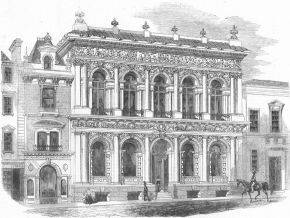 An unsigned print of the decorative scheme for the former West of England and South Wales District Bank, Bristol. Illustrated London News, August 9, 1856, issue 815, 136. © Victoria and Albert Museum, London
