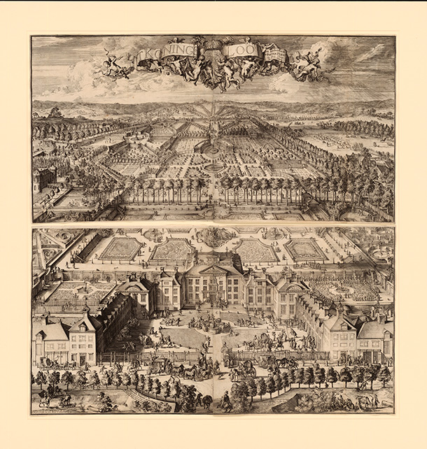 Het Loo Palace, Romeyn de Hooghe, 1695-98, Dutch Republic, now the Netherlands (Amsterdam), etching. Museum no. E.590:1&2-2012, © Victoria and Albert Museum, London