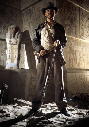 Harrison Ford as Indiana Jones in 'Raiders of the Lost Ark', 1981, costume designed by Deborah Nadoolman. Lucasfilm/Paramount/The Kobal Collection