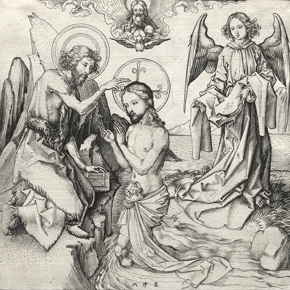 Stained glass from mariawald abbey design symbolism victoria the baptism of christ in the jordan engraving by martin schongauer germany 1450 biocorpaavc Choice Image