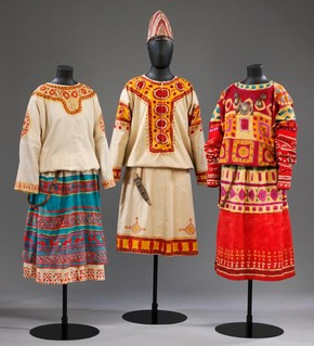 Nikolai Roerich (designer), costumes for female dancers in The Rite of Spring, 1913. Museum nos. S.669.  Victoria & Albert Museum, London