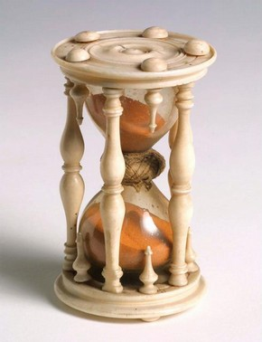 Sandglass in turned ivory frame, late 16th century, Italy, bought for £2 from Mons. Fulgence, Paris
