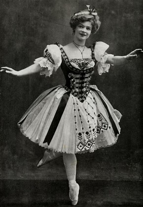 Adeline Genée as Swanilda (Coppélia) at the Empire Theatre, Leicester Square, London, 1905.