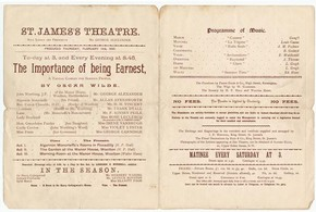 Programme for the first production of 'The Importance of Being Earnest' by Oscar Wilde, St James's Theatre, London, 1895.