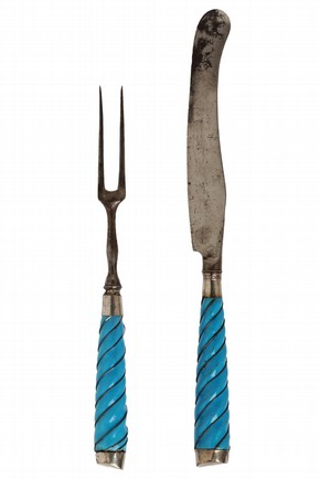 Knife and fork, handles of enamel, copper and silver wire, steel blades, probably Sheffield or Birmingham, England, about 1760–80. Museum no. 1066&A–1902