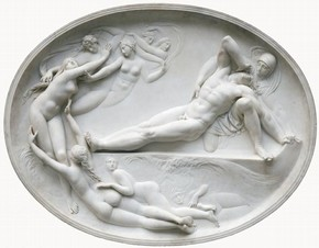 Relief showing Thetis and her Nymphs consoling Achilles for the loss of Patroclus by Thomas Banks, about 1778, Museum no. A.15-1984