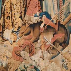 'Swan and Otter Hunt' (detail), woven wool tapestry, Netherlands, possibly Arras, 1430s. M