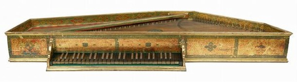 Painted wood spinet, probably by Giovanni Baffo, Venice, Italy, about 1594. Museum no. 19-1887