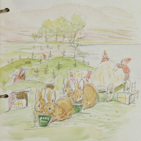 'Oakmen unloading the wagon, whilst rabbits eat', pencil & wash drawing by Beatrix Potter, 1916. © Frederick Warne & Co.