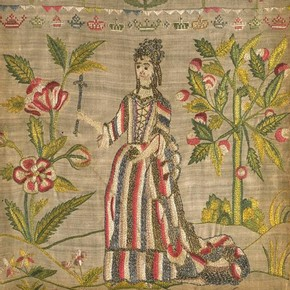 Linen sampler embroidered with silk and metal thread, by unknown maker, England, early 18th century. Museum no. T.77-1916