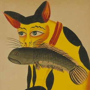 A cat with a fish in its mouth, about 1890, Museum no. IS.261-1955