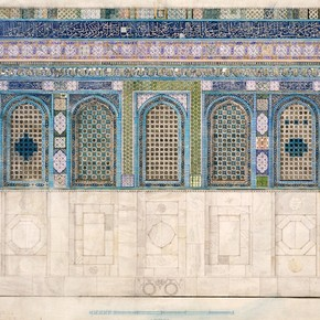 Ernest Richmond, Tile decoration of the Dome of the Rock, Jerusalem, watercolour. Museum no. E.2023-1924