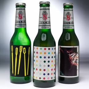 Labels for Beck&#39;s brewing company by Tim Head, Damien Hirst and Rebecca Horn. E. 311-2005; E.867-2003; E.219-2005