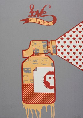 'Love Supreme', screenprint by Sickboy, about 2004. Museum no. E.382-2005.